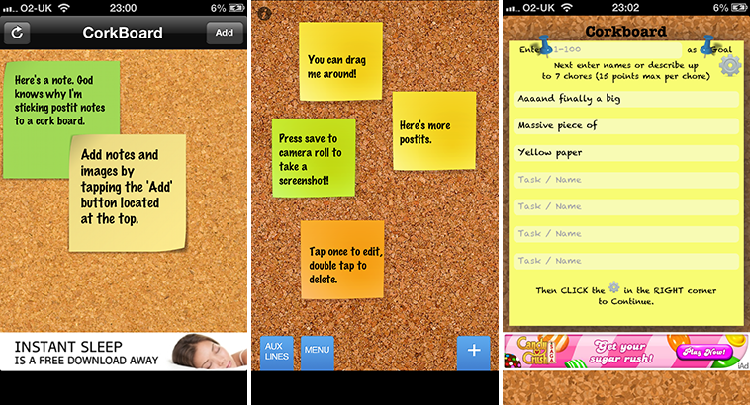 Corkboard reminder apps