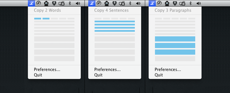 Selecting a range of lengths of Lorem Ipsum from the menu bar icon.